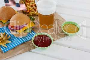 Drink and snacks decorated with 4th july theme