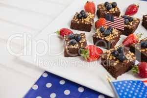 Close-up of sweet food decorated with 4th july theme