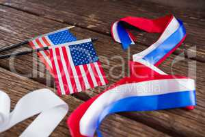 American flags and various ribbons on table