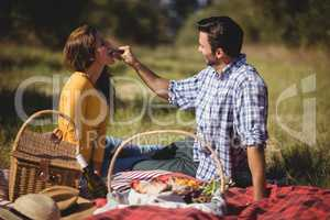 Man feeding girlfriend while sitting on picnic blanket