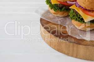 Hamburger on wooden board