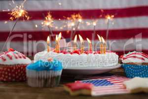 Patriotic 4th of july cake and cupcake