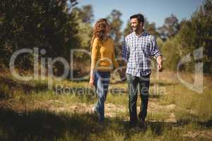 Happy young couple holding hands at olive farm