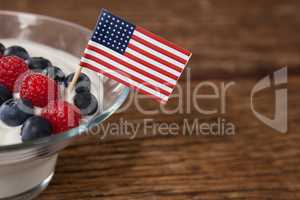 Close-up of fruit ice cream decorated with 4th july theme