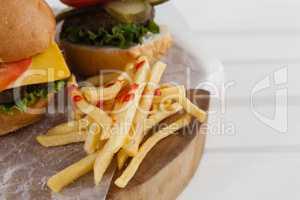 Snacks on wooden board