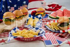 Breakfast and American flag on tablecloth
