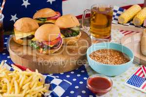 Hot dogs on wooden table with 4th july theme
