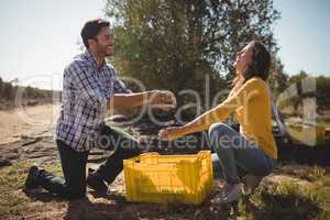 Playful couple holding olives while kneeling at farm
