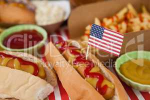 Hot dog decorated with 4th july theme