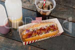 Hot dog and cold drink with 4th july theme
