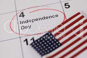 American flag with fourth of july calendar