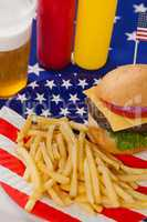 Snacks and drink  decorated with 4th july theme