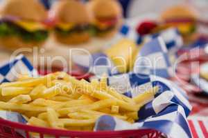 Close-up of french fries in basket