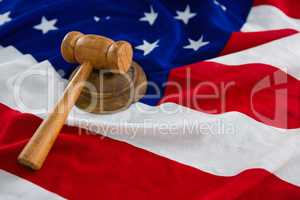 Close-up of gavel on American flag