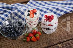 Fruit ice cream on wooden table