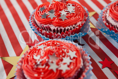 Decorated cupcakes with 4th july theme