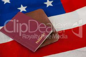 Passport and visa on an American flag