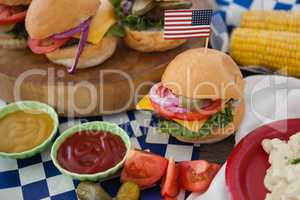 Hamburger decorated with 4th july theme
