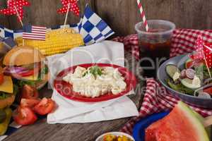 Snacks and cold drink decorated with 4th july theme