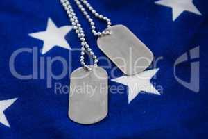 Dog tag chain on an American flag