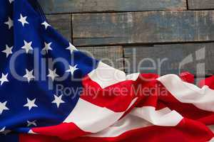American flag on a wooden table