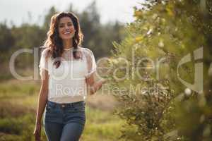 Beautiful young woman standing by trees at olive farm