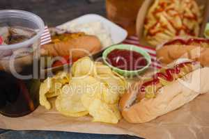 Snacks and cold drink on brown paper