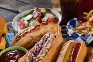 Close-up of hot dogs and ketchup