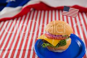 Burger decorated with 4th july theme