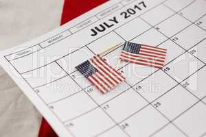 Calendar marked with American flags as reminder