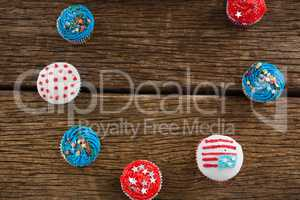 Various patriotic cupcake arranged