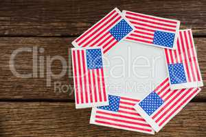 American flags arranged over plate