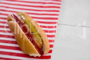 Hot dog on wooden table with 4th july theme