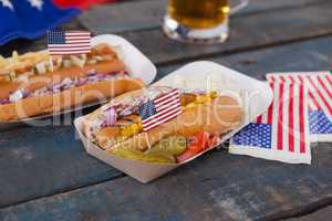 Hot dogs decorated with 4th july theme