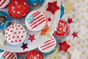 Close-up of decorated cupcakes