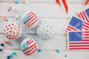 Cupcakes decorated with 4th july theme