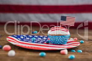 Independence day cupcake on patriotic plate
