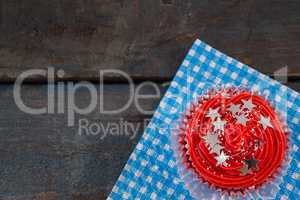 Decorated cupcake with 4th july theme
