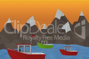 Composite image of three dimensional image of red boat