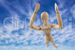 Composite image of 3d image of carefree wooden figurine with arms raised standing