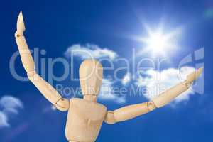 Composite image of close up of 3d figurine with arms spread wide