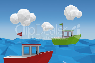 Composite image of three dimensional image of green boat
