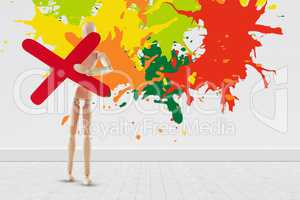 Composite image of colourful paint splashes