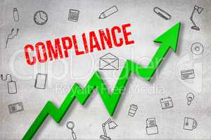 Composite image of digitally generated image of compliance text