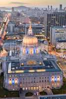San Francisco City Hall at Dusk looking North West.