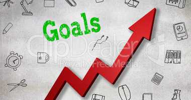 Composite image of close up of goals text