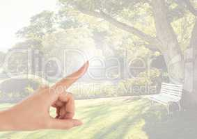 Hand touching air with nature park gardens background