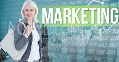 Digital composite image of businesswoman carrying shoulder bag standing by marketing text against nu