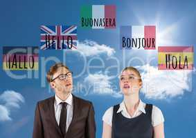 main language flags with waves around man and woman. Sky background