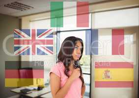 main language flags around young woman in the office